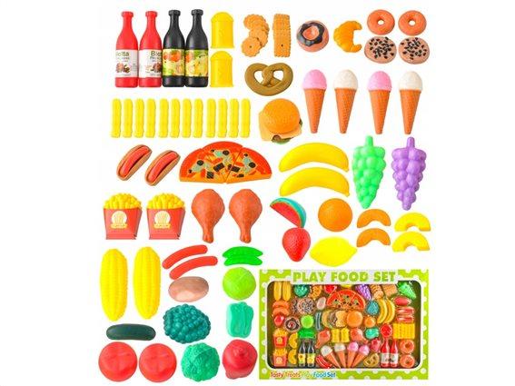 Aria Trade Σετ Παιχνίδια Μαγειρικής-Κουζινικά 90τμχ Play Food Set