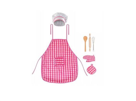 Παιδικό Σετ Σεφ 7 τεμαχίων με ποδιά, σκούφο, γάντι και άλλα αξεσουάρ, Chef Set