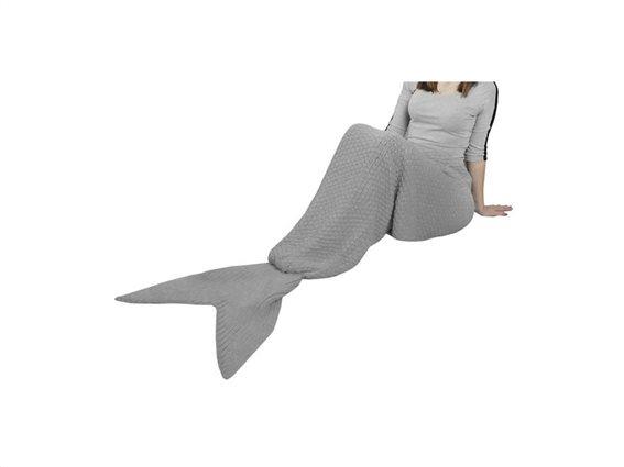 Πλεκτή Κουβέρτα σε σχήμα Ουράς Γοργόνας ενηλίκων με άνοιγμα στο πάνω και κάτω μέρος, 225x55 cm