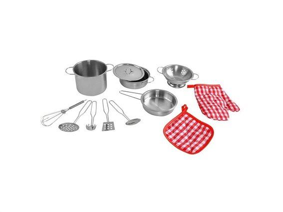 Σετ Παιχνίδι με Κουζινικά 13 τεμαχίων, μεταλλικά σκεύη μαγειρικής κατάλληλο για παιδιά