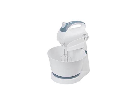 Adler Ηλεκτρικό Μίξερ Χειρός 300W με Κάδο 3L με 5 Ταχύτητες και 4 αξεσουάρ σε Λευκό χρώμα, AD-4202