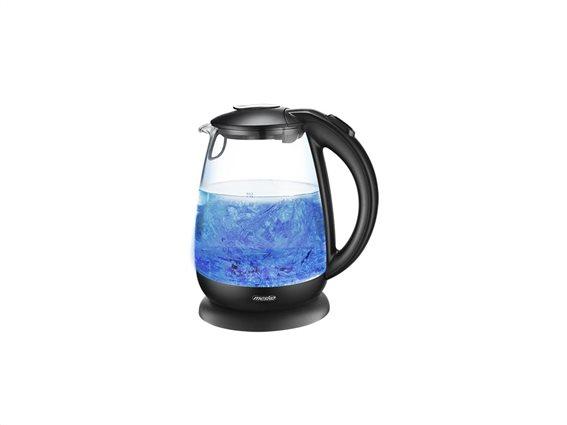 Mesko Γυάλινος Βραστήρας Νερού με Φωτισμό LED 1.7lt 2200W σε Μαύρο χρώμα, Kettle glass, MS-1263