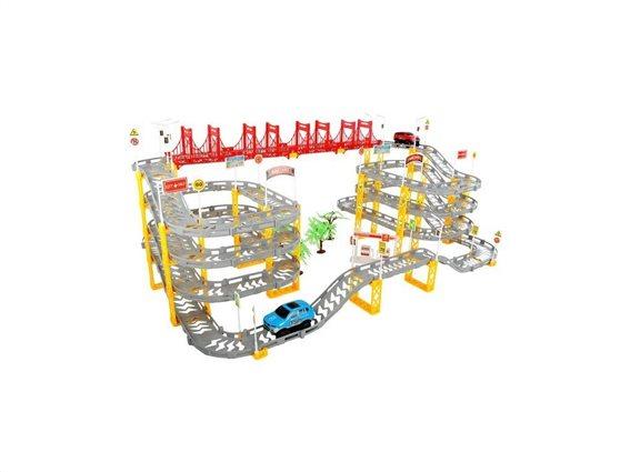 Παιδικό παιχνίδι Γίγα πίστα αυτοκινητόδρομος 8 μέτρων με 4 ορόφους και 2 αυτοκινητάκια, 83x50x33cm