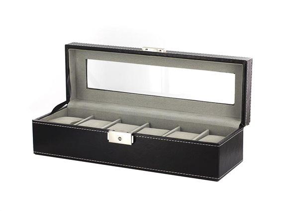 Θήκη Ρολογιών Κοσμηματοθήκη με 6 θέσεις και βελούδινη εσωτερική επένδυση, 30x9x10.5 cm