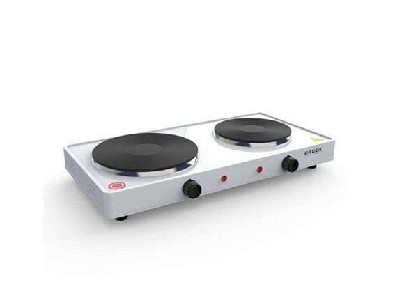 Brock Ηλεκτρική διπλή εστία μαγειρικής με 2 εστίες, σε Λευκό χρώμα, 46.4x24.4 cm