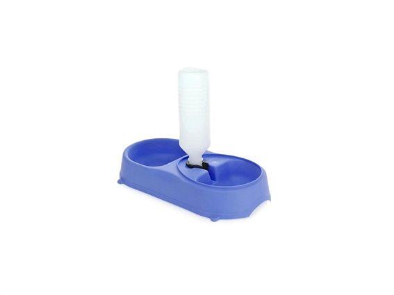 Ταΐστρα για Σκύλους και γάτες διπλής ρύθμισης φαγητού και νερού, Double Pet Bowl Μπλε