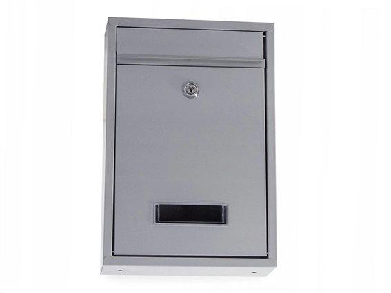 Γραμματοκιβώτιο από Ανοξείδωτο Ατσάλι με κλειδαριά σε γκρι χρώμα, 21.5x32x8.5 cm, Letter box