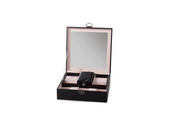 Aria Trade Μπιζουτιέρα Κοσμηματοθήκη Θήκη Ρολογιών με Καθρέφτη σε μαύρο χρώμα, 25.5x25x 8.5cm, Μαύρο