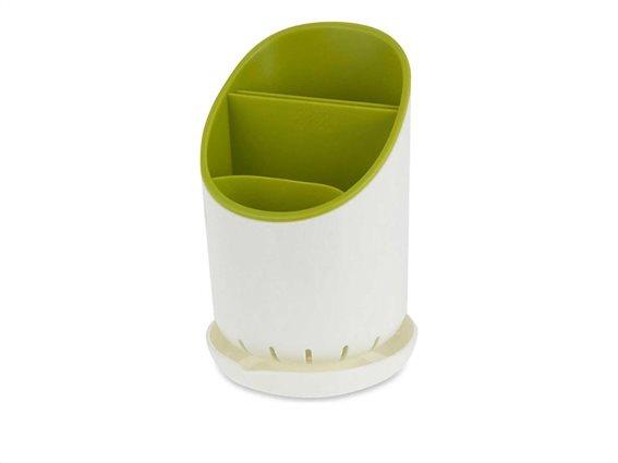 Θήκη Στραγγιστήρι για Μαχαιροπίρουνα 3 θέσεων σε λευκό πράσινο χρώμα, 19x12 cm