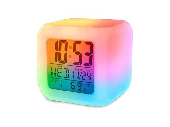 Ψηφιακό Επιτραπέζιο Ρολόι με ένδειξη Θερμοκρασίας, Ξυπνητήρι και Ημερομηνία, 8x8x8 cm, Alarm clock