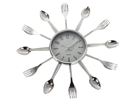 Ρολόι Τοίχου Κουζίνας 38cm με μοτίβο Μαχαιροπίρουνα και Quartz Μηχανισμό, Cutlery clock
