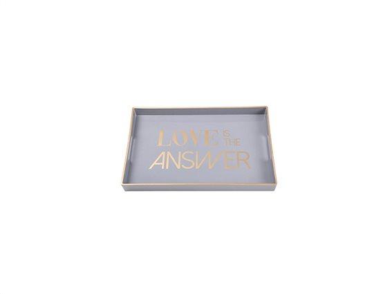 Δίσκος Σερβιρίσματος σε ορθογώνιο σχήμα με λεζάντες, 46x30x4 cm, Decorated Tray Γκρι