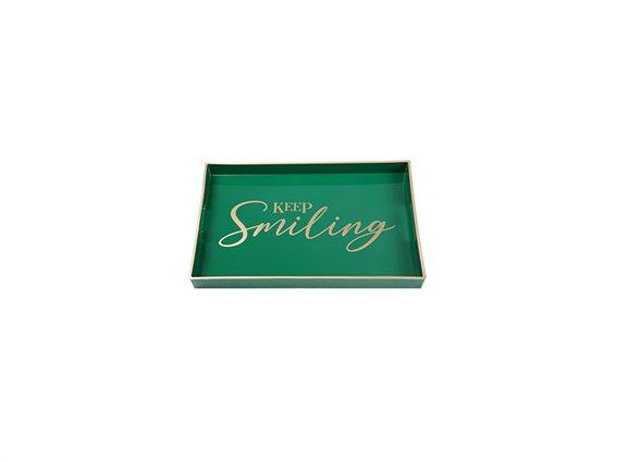 Δίσκος Σερβιρίσματος σε ορθογώνιο σχήμα με λεζάντες, 46x30x4 cm, Decorated Tray Πράσινο