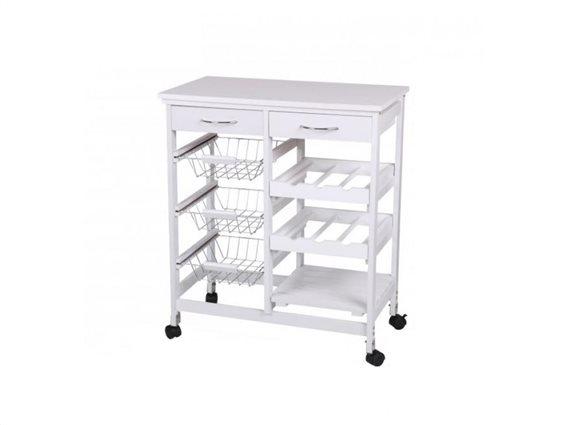 Ξύλινο Τρόλεϊ Καρότσι κουζίνας, Ραφιέρα με 8 αποθηκευτικούς χώρους και ροδάκια, σε Λευκό χρώμα