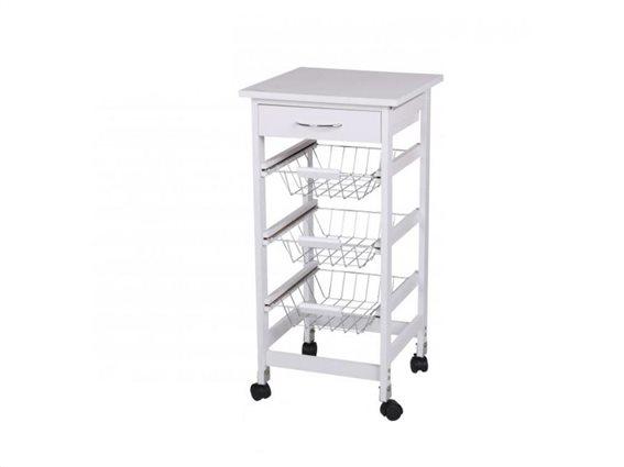 Ξύλινο Τρόλεϊ Καρότσι κουζίνας ή Μπάνιου με ροδάκια και 4 αποθηκευτικούς χώρους, σε λευκό χρώμα