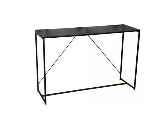 Έπιπλο εισόδου κονσόλα με μεταλλικό σκελετό και ξύλινη επιφάνεια, σε μαύρο χρώμα,  120x39x79cm