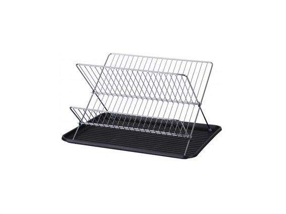 Αναδιπλούμενο Στεγνωτήριο Πιάτων δύο επιπέδων, 42.5x31.5x22 cm, Dish drainer Μαύρο