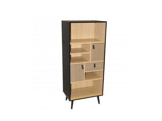 Ξύλινη βιβλιοθήκη με ράφια και συρτάρια σε αποχρώσεις φυσικού ξύλου και μαύρο χρώμα, 60x39.5x140 cm