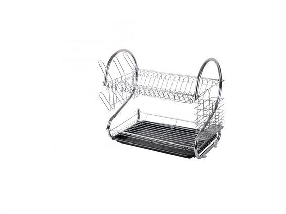 Διπλή Μεταλλική Πιατοθήκη Στεγνωτήριο πιάτων, 53.5x24.5x37 cm, Dish drainer Μαύρο