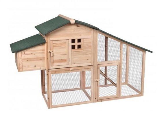 Ξύλινο κοτέτσι με διαζώματα από ξύλο ελάτου,με σημείο ωοτοκατοικίας για συλλογή αυγών, 172X64X110 cm