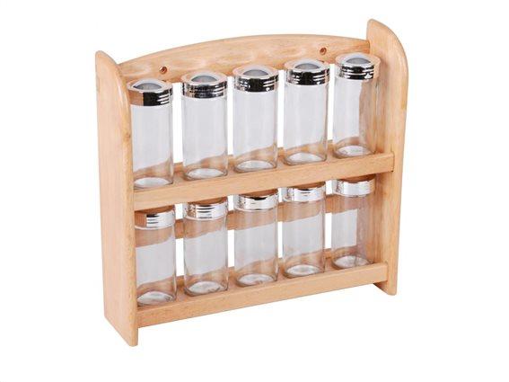 Σετ Ξύλινη Βάση Μπαχαρικών με 10 βαζάκια για μπαχαρικά, 27x29x8 cm, Spice rack