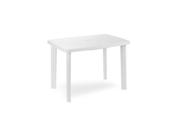 Τραπέζι πλαστικό βεράντας κήπου, σε λευκό χρώμα, 72.5x100x70cm