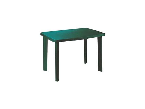 Τραπέζι πλαστικό βεράντας κήπου, σε πράσινο σκούρο χρώμα, 72.5x100x70cm