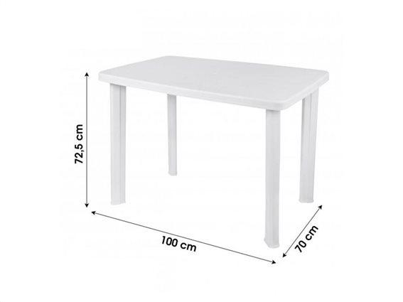 Τραπέζι πλαστικό βεράντας κήπου, σε λευκό χρώμα, 72x140x90cm