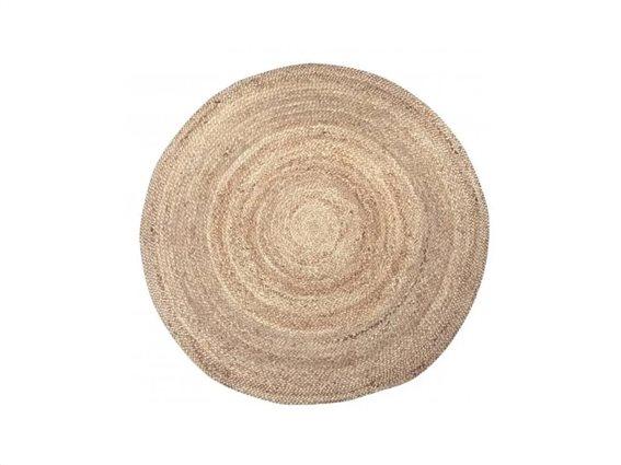 Στρογγυλό Χαλί Σαλονιού από Φυσική Γιούτα σε καφέ χρώμα μεγέθους 110 cm, Jute rug