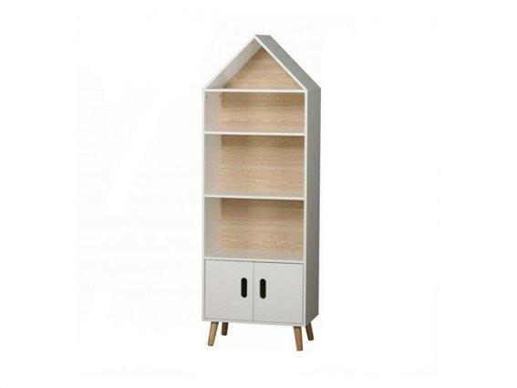 Έπιπλο Ξύλινη Βιβλιοθήκη με 4 ράφια και ντουλάπι σε σχήμα σπίτι, 50x30x142 cm, Library