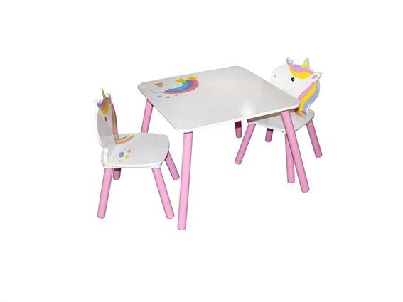 Ξύλινο Παιδικό Σετ Τραπεζάκι με 2 καρέκλες σε σχέδιο μονόκερος, Children's unicorn set