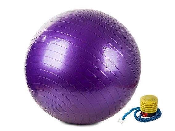 Φουσκωτή μπάλα γυμναστικής για Yoga και Pilates διαμέτρου 65cm μαζί με τρόμπα, σε Μωβ χρώμα