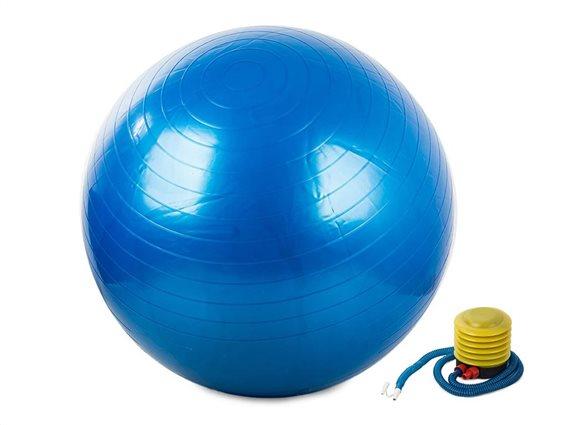 Φουσκωτή μπάλα γυμναστικής για Yoga και Pilates διαμέτρου 65cm μαζί με τρόμπα, σε Μπλε χρώμα