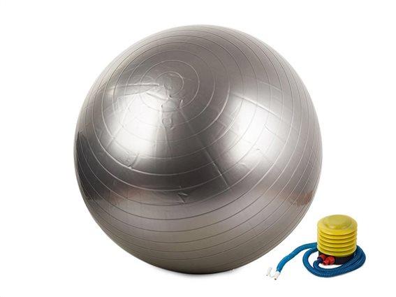 Φουσκωτή μπάλα γυμναστικής για Yoga και Pilates διαμέτρου 65cm μαζί με τρόμπα, σε Ασημί χρώμα