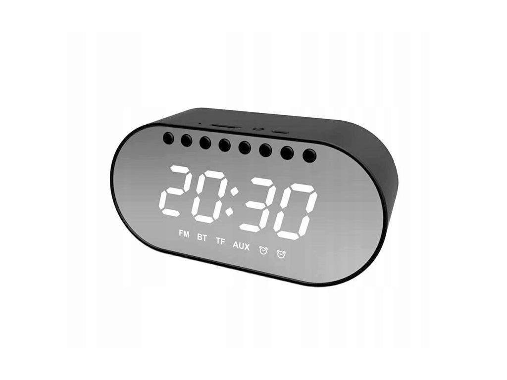 Ασύρματο Ηχείο Bluetooth 4.2 με εμβέλεια 10m και ρολόι σε μαύρο, 14.5x4.7x6.6 cm, Wireless speaker