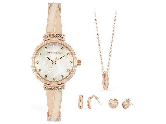 Pierre Cardin PCX6857L295K Σετ συλλογή Κοσμημάτων με Γυναικείο Ρολόι, Gift set