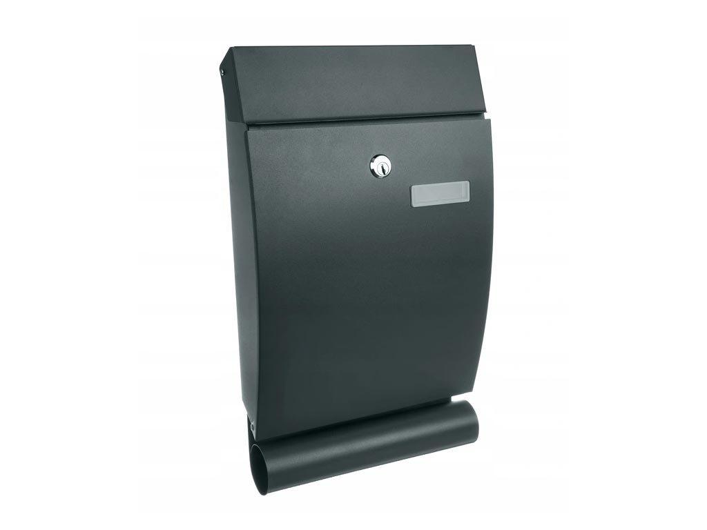 Γραμματοκιβώτιο από Ατσάλι με κλειδαριά και θήκη για εφημερίδα σε μαύρο χρώμα, 25x7x40 cm