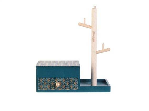 Κοσμηματοθήκη Μπιζουτιέρα Κρεμάστρα με καθρεπτάκι, 24x10x28 cm Πετρόλ