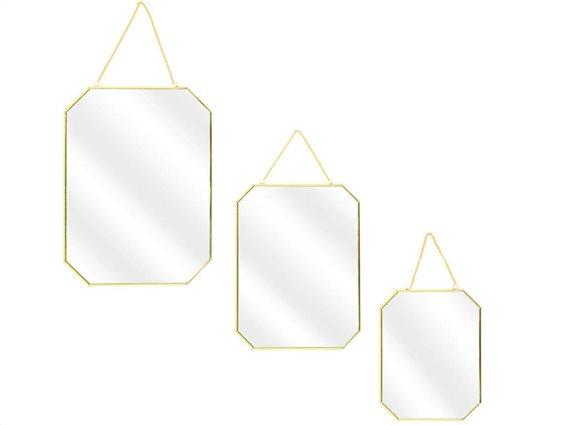 Σετ Διακοσμητικοί επιτοίχιοι καθρέφτες  3 τεμαχίων με αλυσίδα σε 3 διαφορετικά μεγέθη, 40x30x0.3cm
