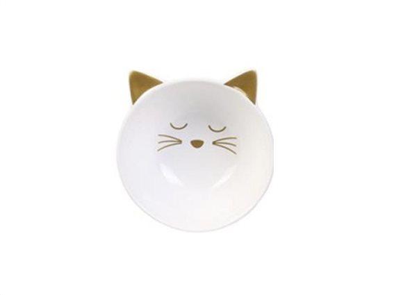 Μπολ Σερβιρίσματος σε σχήμα γάτας, ιδανικό για δημητριακά, 5x10.4x11 cm Λευκό