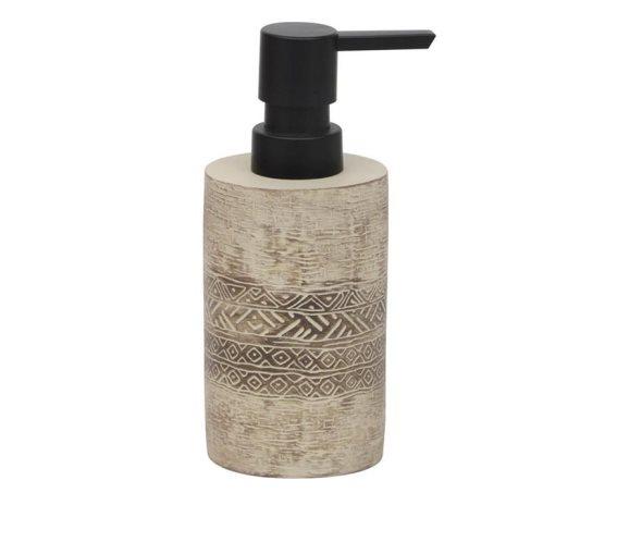 Κεραμικός Διανεμητής σαπουνιού Δοχείο για κρεμοσάπουνο 160ml σε μπεζ χρώμα με αντλία, Soap dispenser