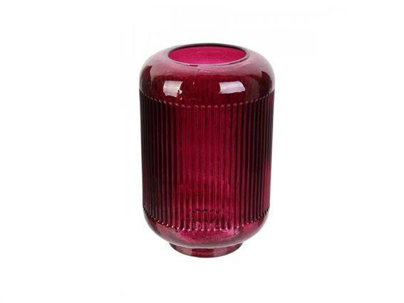 Γυάλινο βάζο ανάγλυφο διακοσμητικό σε κόκκινο χρώμα, ύψους 21.5 cm
