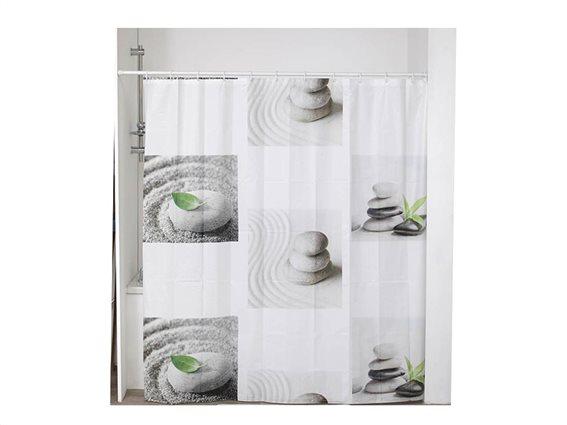 Σετ Κουρτίνα Μπάνιου με σχέδιο πέτρες και 12 κρικάκια, 180x180 cm, Shower Curtain Dune