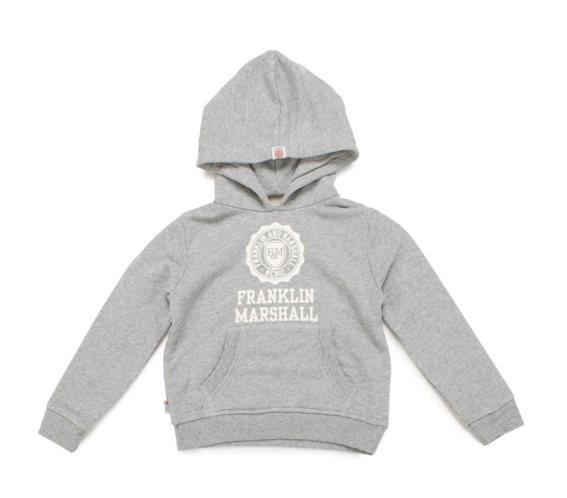 Franklin Marshall παιδικό φούτερ σε γκρι χρώμα με κουκούλα και στάμπα, FLBOU067AMS16