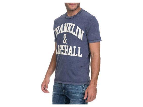Franklin Marshall Ανδρικό T-Shirt σε Μπλε Χρώμα, TSMF356ANW17 Small