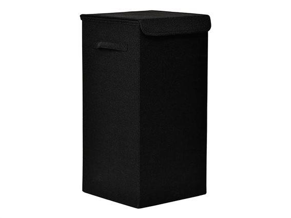 Πτυσσόμενο Καλάθι απλύτων σε μαύρο χρώμα, 30x30x60 cm, Laundry basket