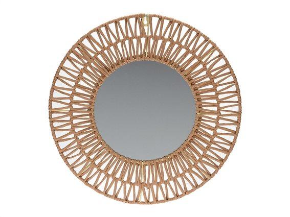 Στρογγυλός Καθρέφτης Τοίχου με πλέξη σε φυσική απόχρωση ξύλου διαμέτρου 45cm, Wall Mirror