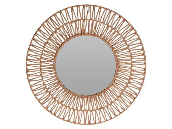 Στρογγυλός Καθρέφτης Τοίχου με πλέξη σε φυσική απόχρωση ξύλου διαμέτρου 60cm, Wall Mirror