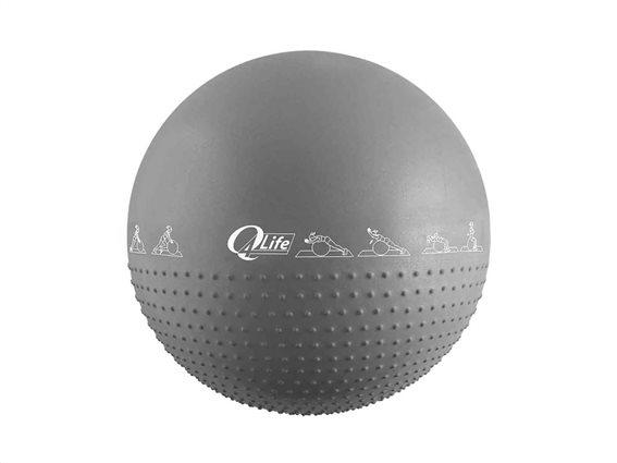 Φουσκωτή μπάλα γυμναστικής για Yoga και Pilates διαμέτρου 65cm με τρόμπα, Yoga ball Γκρι