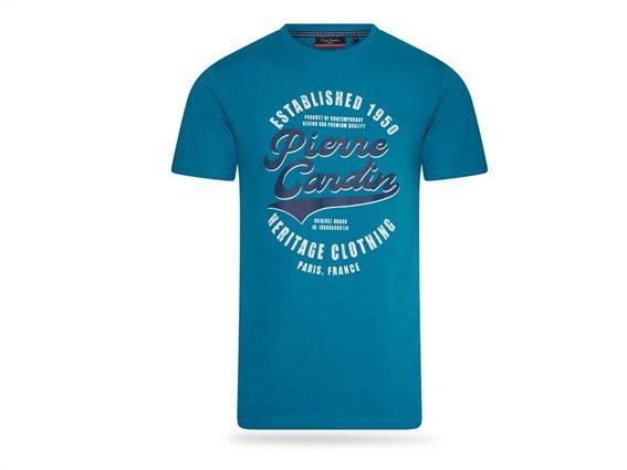 Pierre Cardin Ανδρικό Μπλουζάκι T-shirt με τύπωμα και κοντό μανίκι, σε Μπλε χρώμα XXLarge